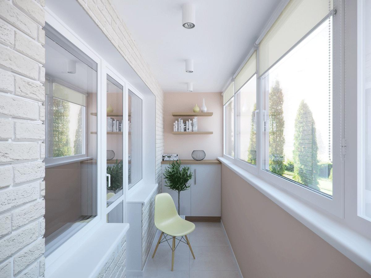 Зонирование на балконе с помощью декоративной штукатурки