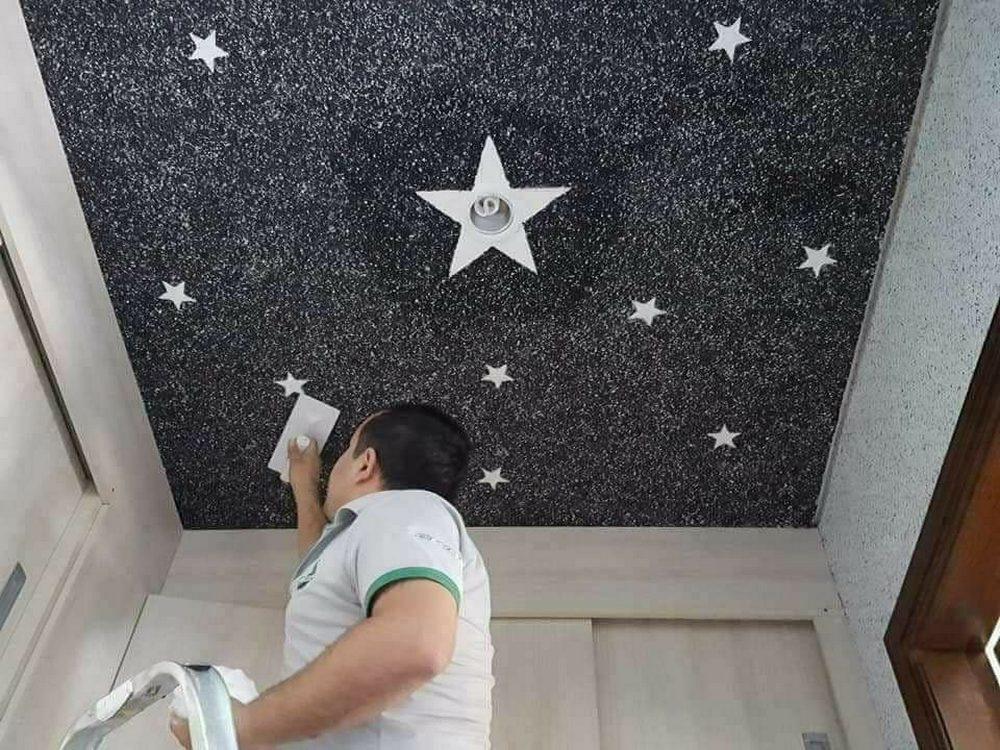 Небо со звездами на потолке из жидких обоев