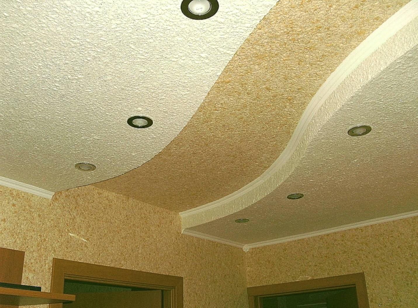 Вставка из жидкихз обев на двухуровневом потолке
